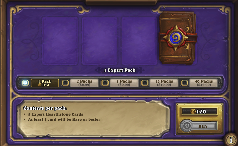 hearthstone pack prices